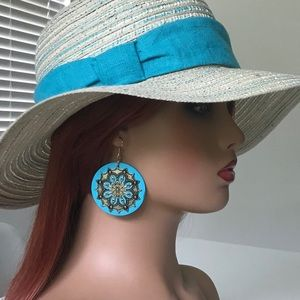 """Jewelry - Turquoise blue wooden 2"""" round earrings summer"""